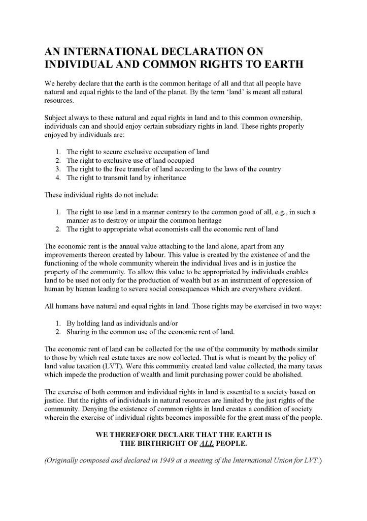 An International Declaration on Individual and Common Rights to Earth