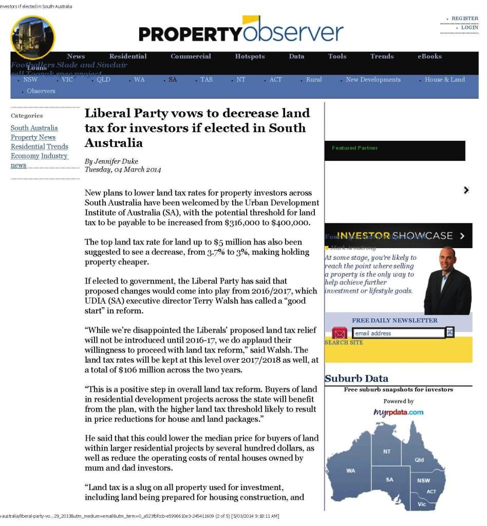 SA Libs to reduce land tax
