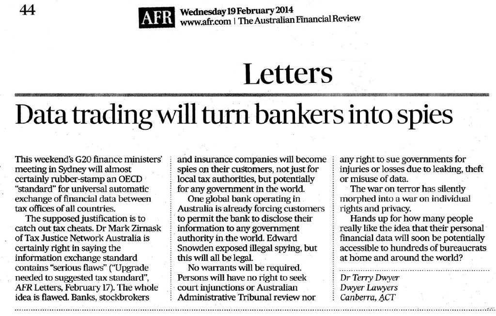 2014-02-20 Dwyer to AFR re financial institutions spying for governments - Copy