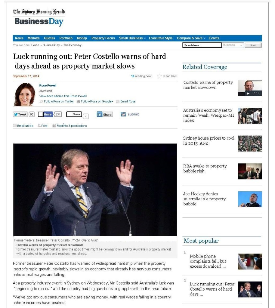 Luck running out Peter Costello