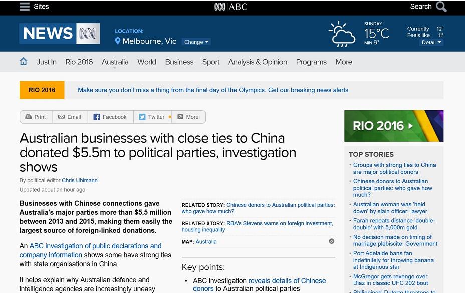 China Oz bribes